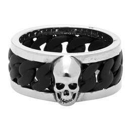 Alexander McQueen Silver and Black Bi-Color Chain Ring 599974J160K