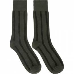 Issey Miyake Men Khaki and Black Stripe Socks ME06AI002