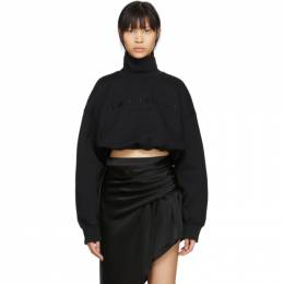 Alexander Wang Black Cropped Logo Turtleneck 1CC1201335