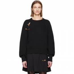 Versace Black Oversized Safety Pin Sweater A85522 A233143