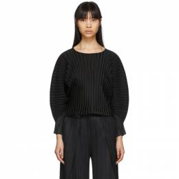 Pleats Please Issey Miyake Black Rib Pleats Wide Sleeve Pullover PP06FK333