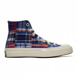 Converse Blue and Red Twisted Prep Chuck 70 High Sneakers 166849C