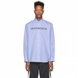 Vetements Blue and White Gothic Logo Shirt SS20SH285