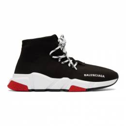Balenciaga Black and Red Speed Lace-Up Sneakers 587289-W1721