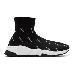 Balenciaga Black All Over Logo Speed Sneakers 597551-W1712