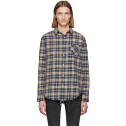 R13 Blue and Khaki Shredded Seam Shirt R13W7546-593