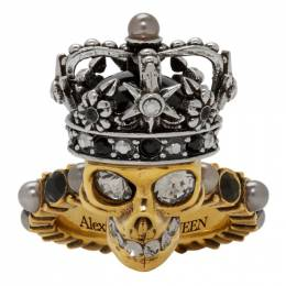 Alexander McQueen Gold and Silver Pearl King Skull Ring 553661J160Z