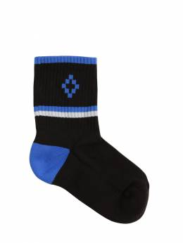 Cotton Blend Rib Knit Socks Marcelo Burlon County Of Milan 71IOEM041-QjAxMA2