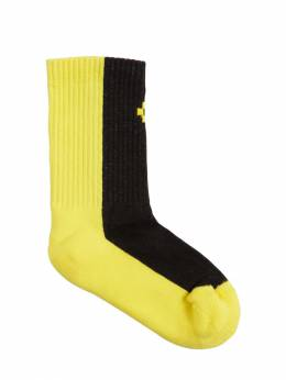 Color Block Cotton Blend Rib Knit Socks Marcelo Burlon County Of Milan 71IOEM039-QjAyMA2