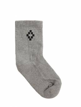 Cotton Blend Rib Knit Socks Marcelo Burlon County Of Milan 71IOEM037-QjA1MA2