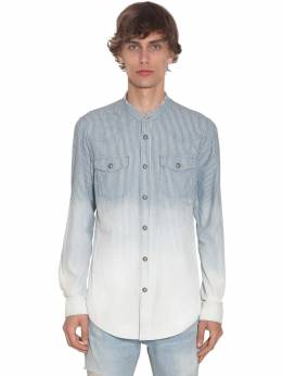 Degrade Stripe Dyed Cotton Denim Shirt Balmain 71IM09015-R0FF0