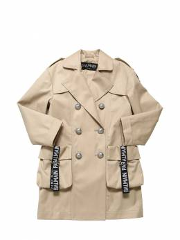 Double Breasted Gabardine Trench Balmain 71ILX4038-MTA40