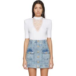 Balmain White Lace-Up Sweater TF10299K030