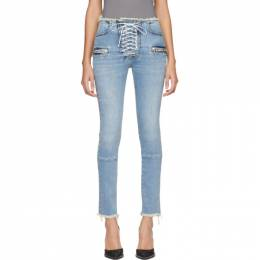 Unravel Blue Lace-Up Skinny Jeans UWYB002R20DEN0034500