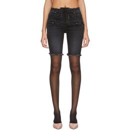 Unravel Black Denim Lace-Up Cyclist Shorts UWYC013R20DEN0021000