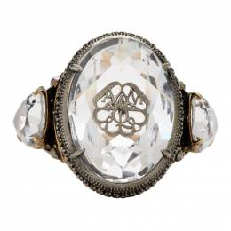 Alexander McQueen Silver Signature Jeweled Ring 607119J160Z
