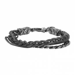 Emanuele Bicocchi Black Rhodium Chain and Braided Bracelet RLCBR