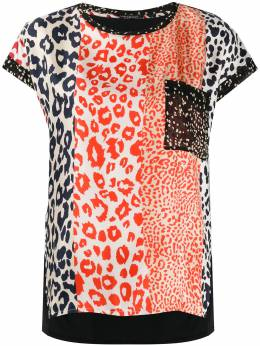 Luisa Cerano футболка с леопардовым принтом в технике пэчворк 3185947528