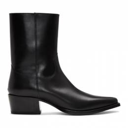 Dsquared2 Black Leather Zip-Up Boots BOM0013 - 01500001