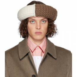 J.W. Anderson Brown Colorblock Cable Knit Hat KW0040-YN0008