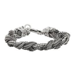 Emanuele Bicocchi Silver Medium Alternated Braided Bracelet FKDB3