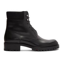 Christian Louboutin Black Calfskin Trapman 20 Crosta Wax Boots 1180244