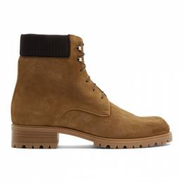 Christian Louboutin Brown Suede Trapman 20 Crosta Wax Boots 3181219