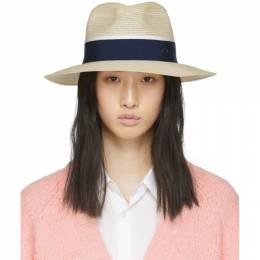Maison Michel Beige and Navy Straw Henrietta Hat 1002049002