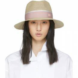 Maison Michel Beige and Pink Straw Henrietta Hat 1002049003