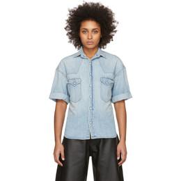 R13 Blue Denim Oversized Cowboy Short Sleeve Shirt R13W7580-048