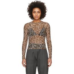 R13 Beige Mesh Leopard Long Sleeve T-Shirt R13W7597-13J