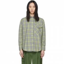 Tibi Green and Beige Recycled Check Relaxed Utility Shirt R219RM7422