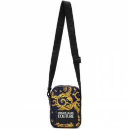 Versace Jeans Couture Blue and Yellow Barocco Messenger Bag EE1YVBB22 E71427