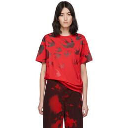 MCQ by Alexander McQueen Red Swallow Boyfriend T-Shirt 583305ROT43
