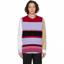 J.W. Anderson Red and Blue Wide Stripe Vest KW0036-YN0006