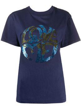 Alberta Ferretti футболка Love с пайетками J07031672