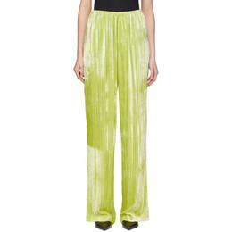 Balenciaga Yellow Velvet Pyjama Suit Trousers 594891-TGQ08