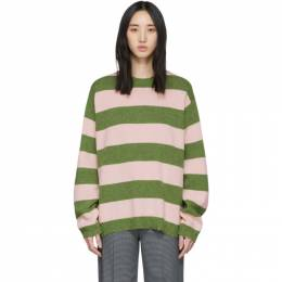 Marc Jacobs Green and Pink Wool Grunge Sweater N6000017
