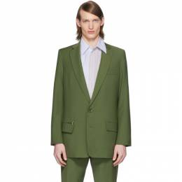 Tibi SSENSE Exclusive Green Eamon Long Blazer R219TW8132