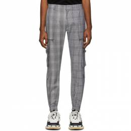 Juun.J Black and White Wool Check Cargo Pants JC0221P345