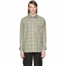 Tibi SSENSE Exclusive Green and Beige Check Recycled Utility Shirt R219RM7520