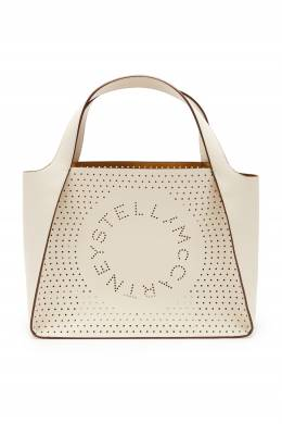 Белая сумка из экокожи с перфорацией Stella Logo Stella McCartney 193181605