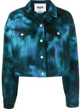 MSGM укороченная джинсовая куртка с принтом тай-дай 2841MDH47T207239