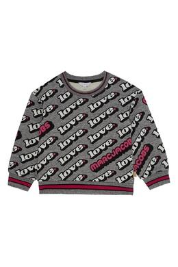 Серый свитшот с надписями Little Marc Jacobs 2799181558