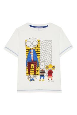 Белая футболка с контрастной отстрочкой Little Marc Jacobs 2799181637