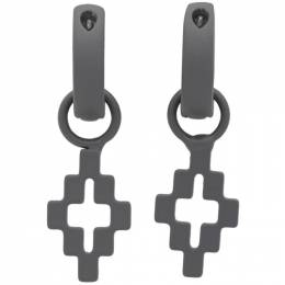 Marcelo Burlon County Of Milan Gunmetal Cross Pendant Earrings CMOD001S20MET0011100
