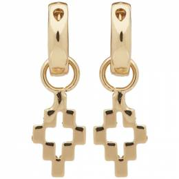 Marcelo Burlon County Of Milan Gold Cross Pendant Earrings CMOD001S20MET0017600