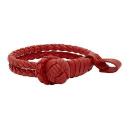Bottega Veneta Red Intrecciato Slim Double Bracelet 612982 VO0BG