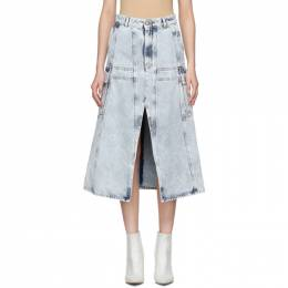 Mm6 Maison Margiela Blue Denim A-Line Cargo Skirt S52MA0088 S30640
