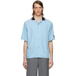 Martine Rose Blue Rib Collar Short Sleeve Shirt MRSS20-425